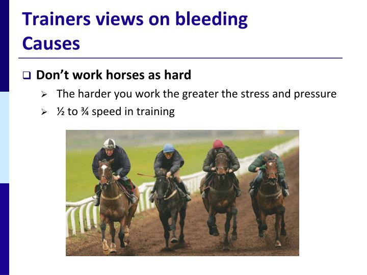 Trainers views on bleeding