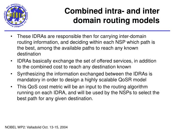 Combined intra- and inter domain routing models