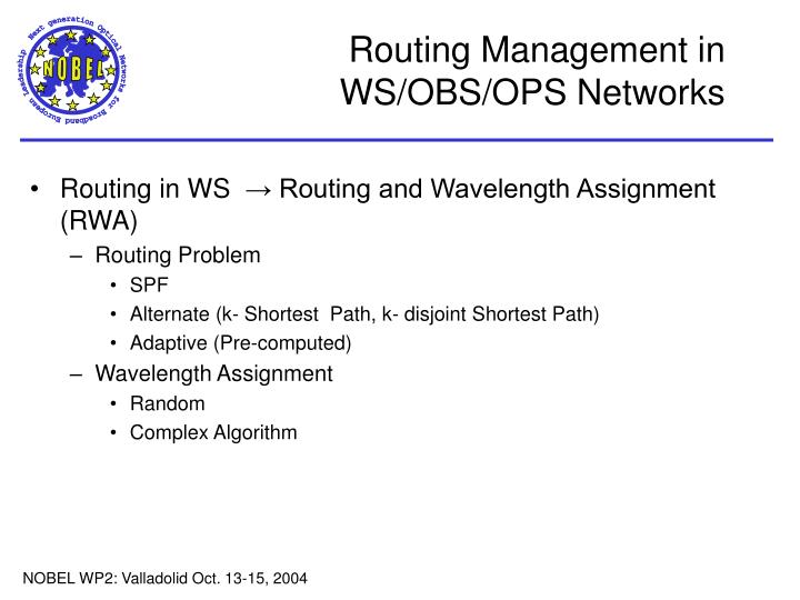 Routing management in ws obs ops networks