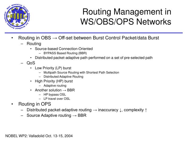 Routing Management in WS/OBS/OPS Networks