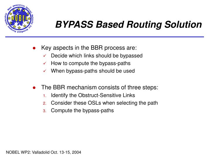 BYPASS Based Routing Solution