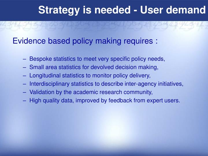 Strategy is needed - User demand