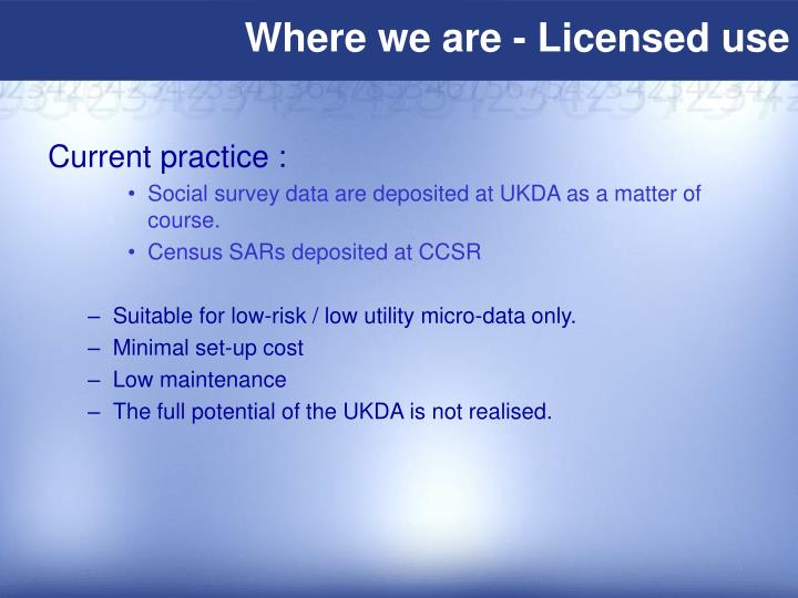 Where we are - Licensed use