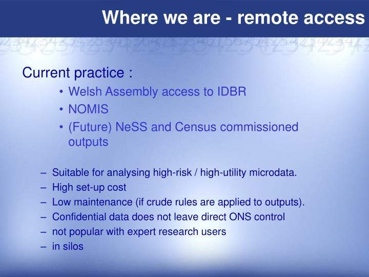 Where we are - remote access