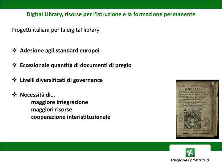 Digital Library, risorse per l'istruzione e la formazione permanente