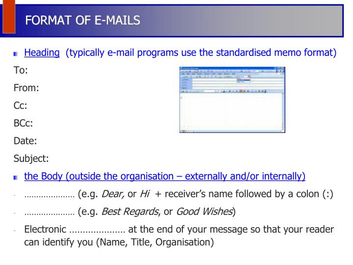 FORMAT OF E-MAILS