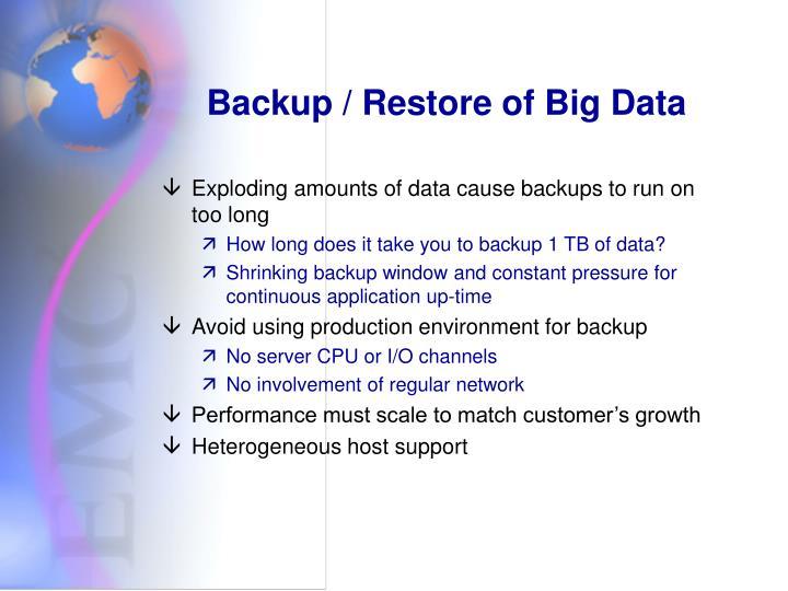 Backup / Restore of Big Data