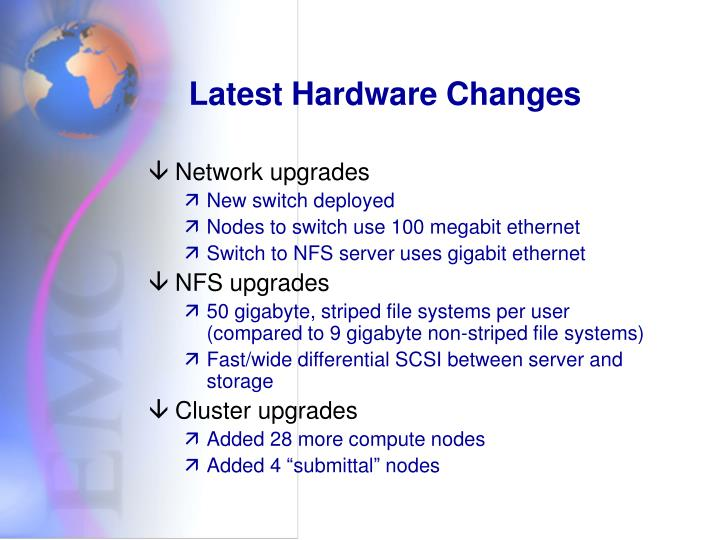 Latest Hardware Changes