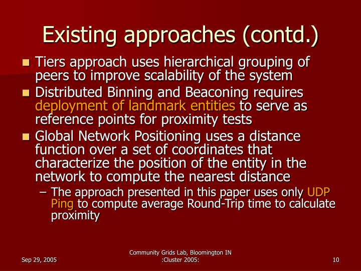Existing approaches (contd.)