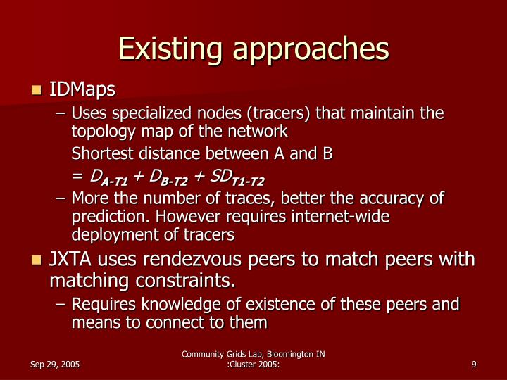 Existing approaches