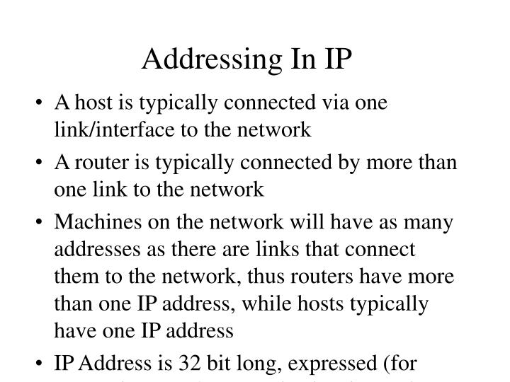 Addressing In IP
