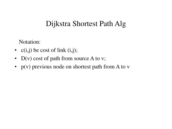 Dijkstra Shortest Path Alg