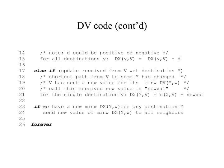 DV code (cont'd)