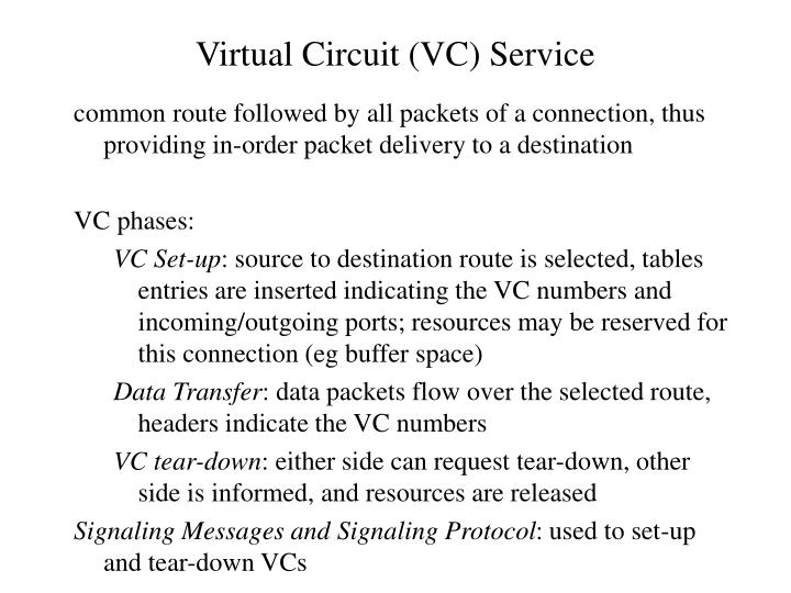 Virtual Circuit (VC) Service