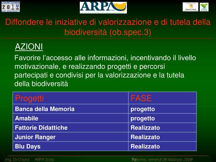 Diffondere le iniziative di valorizzazione e di tutela della biodiversità (ob.spec.3)