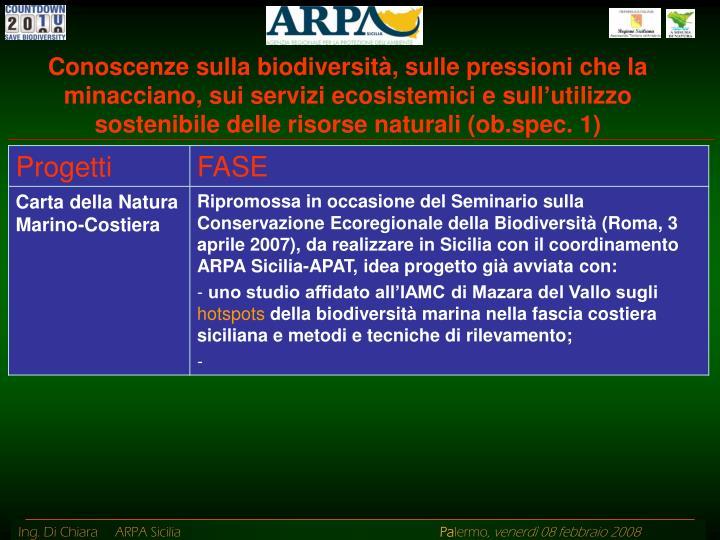 Conoscenze sulla biodiversità, sulle pressioni che la minacciano, sui servizi ecosistemici e sull'utilizzo sostenibile delle risorse naturali (ob.spec. 1)