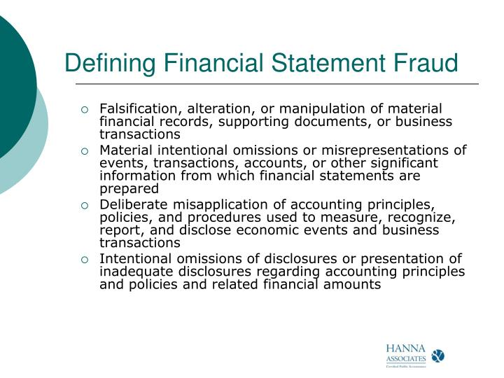 Defining Financial Statement Fraud