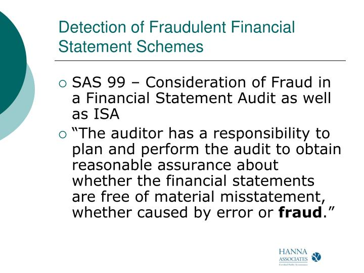 Detection of Fraudulent Financial Statement Schemes