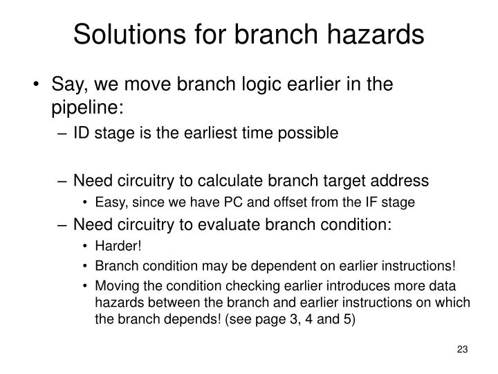 Solutions for branch hazards