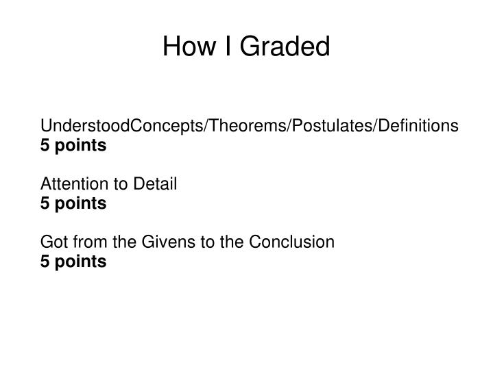 How I Graded