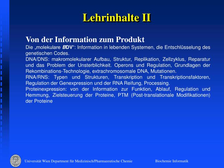Lehrinhalte II