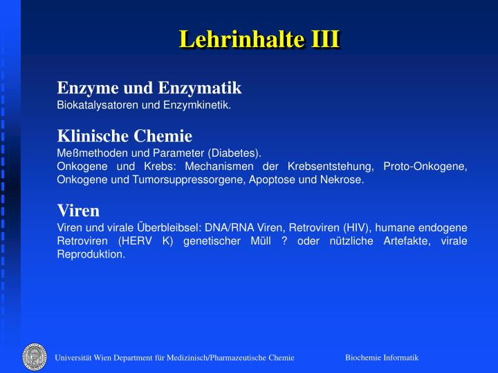 Lehrinhalte III