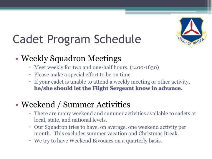 Cadet program schedule