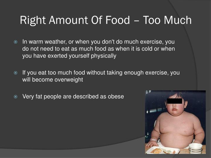 Right Amount Of Food – Too Much