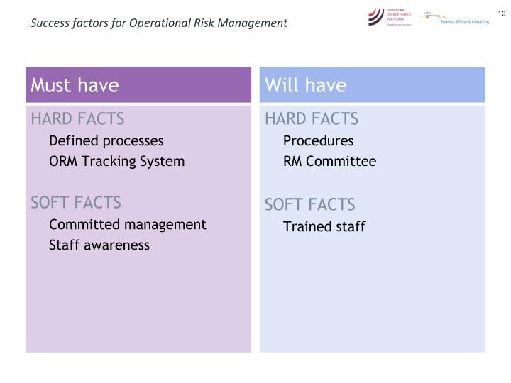 Success factors for Operational Risk Management