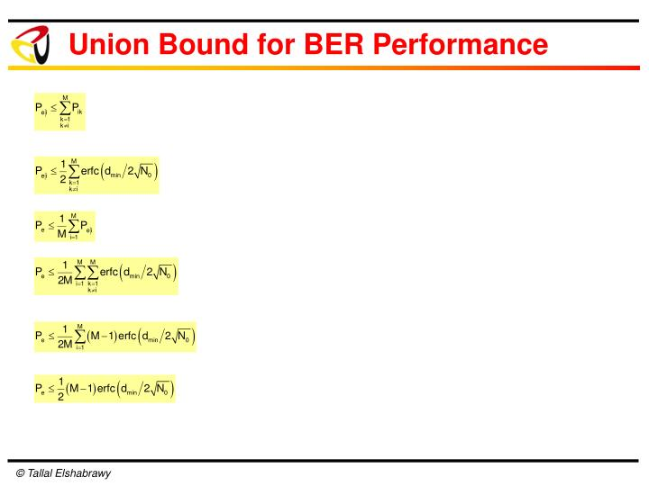 Union Bound for BER Performance