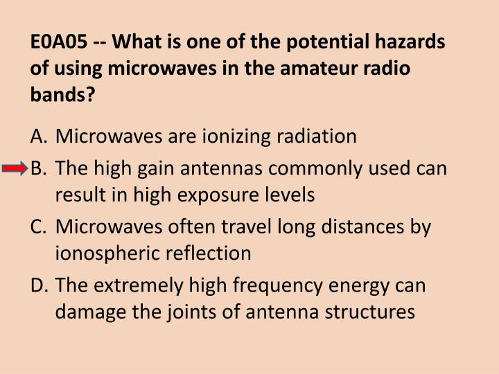 E0A05 -- What is one of the potential hazards of using microwaves in the amateur radio bands?