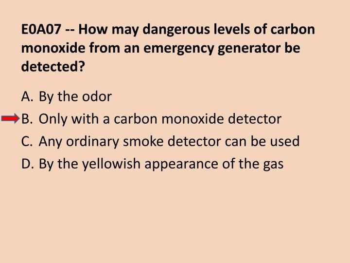 E0A07 -- How may dangerous levels of carbon monoxide from an emergency generator be detected?