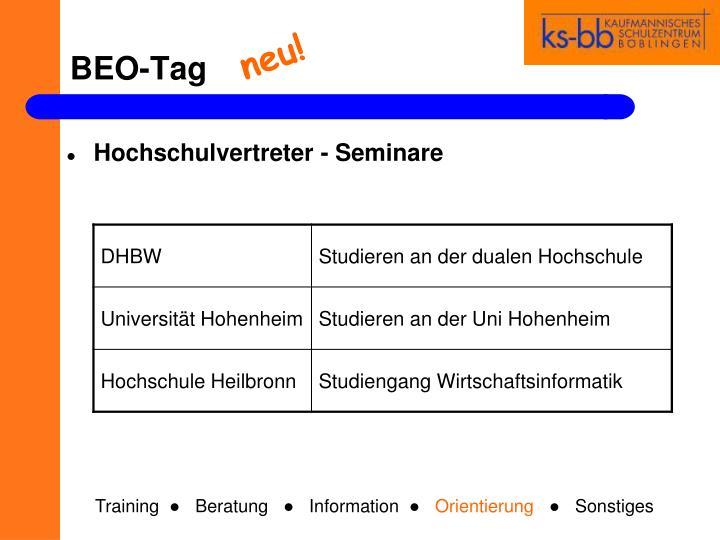 Hochschulvertreter - Seminare