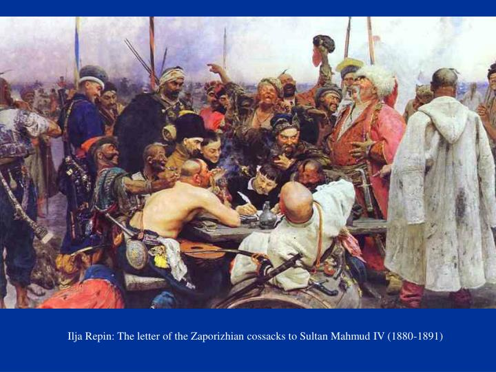 Ilja Repin: The letter of the Zaporizhian cossacks to Sultan Mahmud IV (1880-1891)