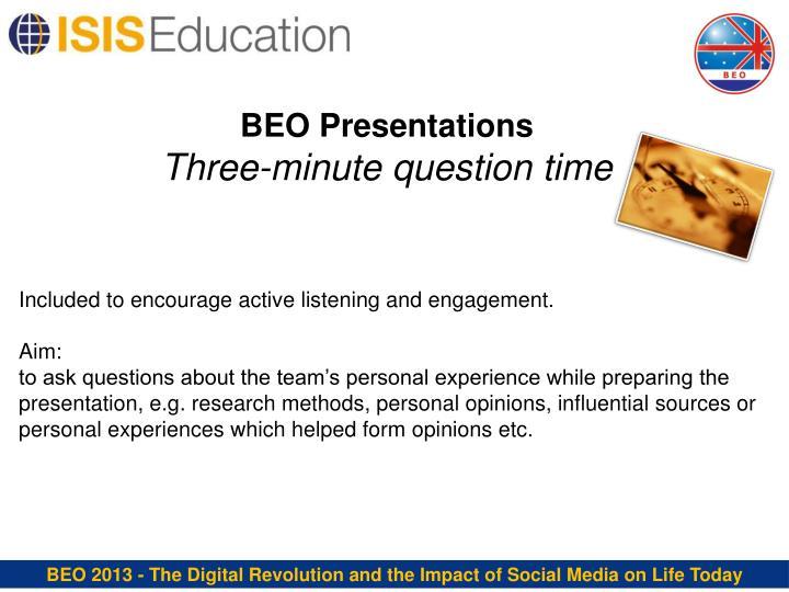 BEO Presentations