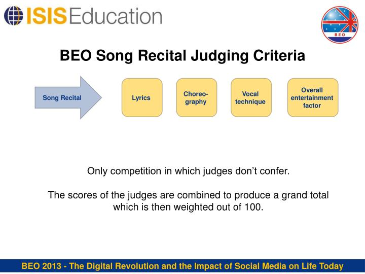 BEO Song Recital Judging Criteria