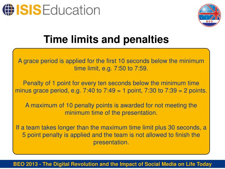 Time limits and penalties