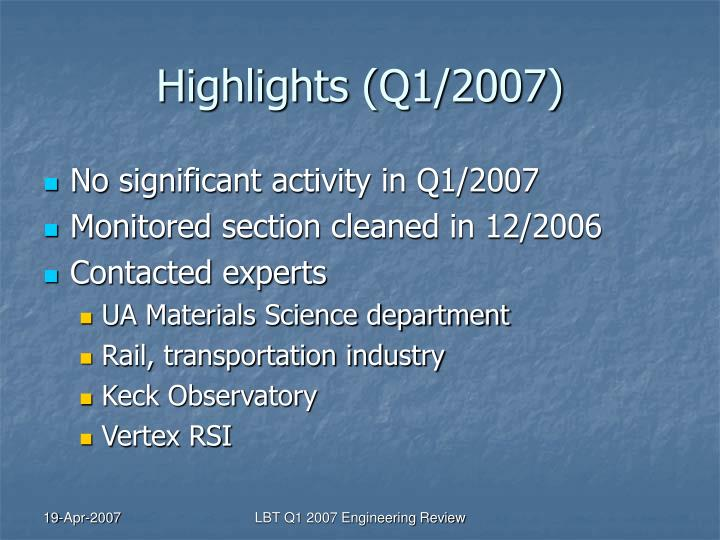 Highlights (Q1/2007)