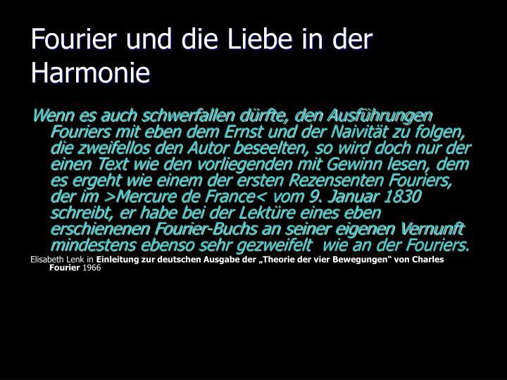 Fourier und die Liebe in der Harmonie
