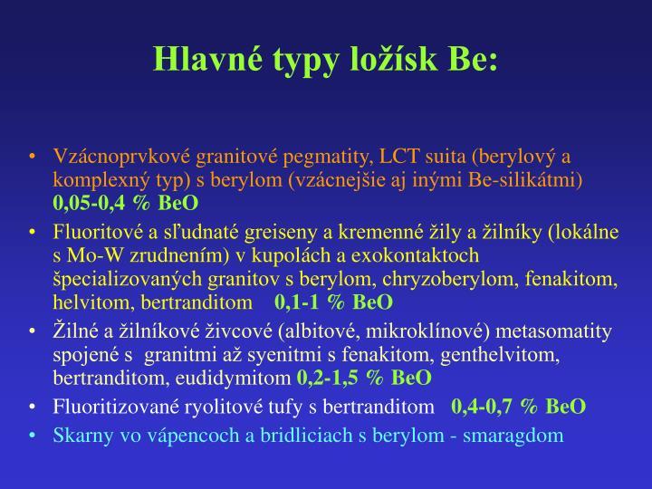 Hlavné typy ložísk Be: