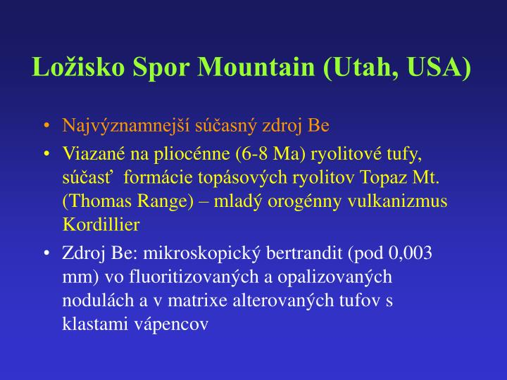 Ložisko Spor Mountain (Utah, USA)