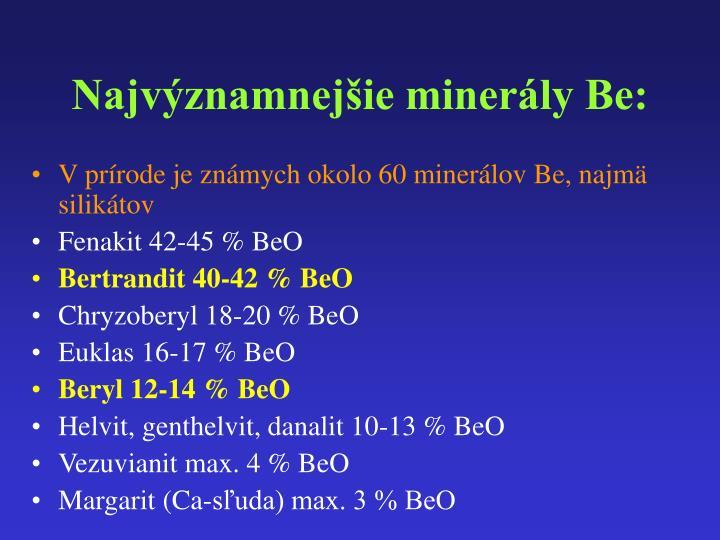 Najvýznamnejšie minerály Be: