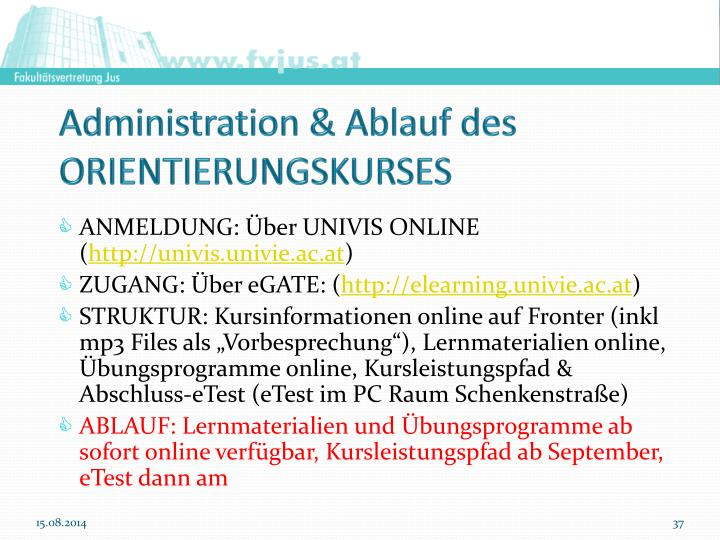 Administration & Ablauf des