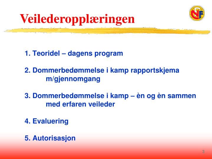 1. Teoridel – dagens program