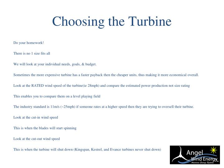 Choosing the Turbine