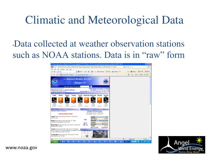 Climatic and Meteorological Data