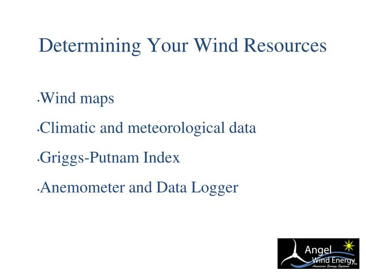 Determining Your Wind Resources