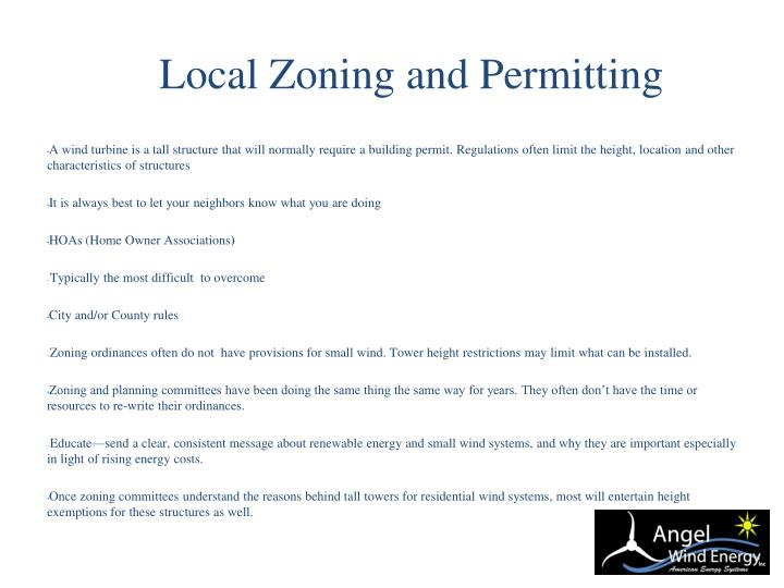 Local Zoning and Permitting