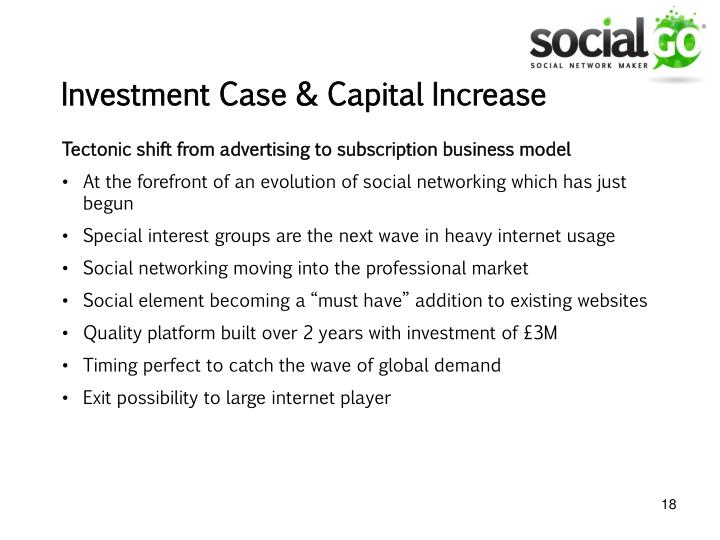 Investment Case & Capital Increase