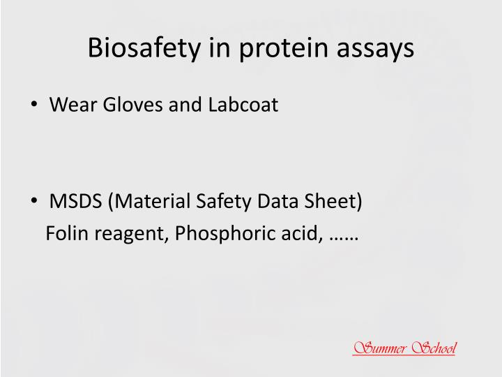 Biosafety in protein assays